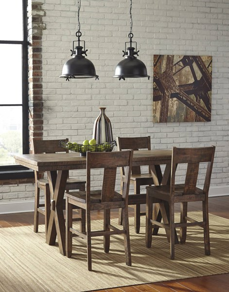 Walnord Vintage Casual Rustic Brown Wood 5pc Counter Set D463-BAR-S1