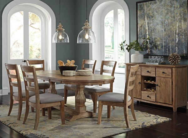 Danimore Vintage Casual Light Brown Wood 7pc Oval Dining Room Set D473-DR-OVAL-S1