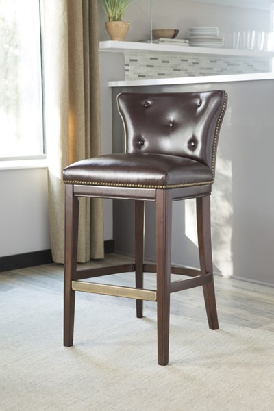 2 Canidelli Contemporary Brown PU Wood Tall Upholstered Barstools D500-330
