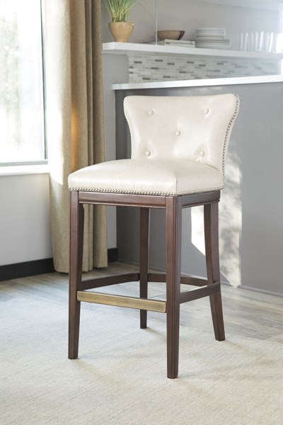 2 Canidelli Contemporary Off White Tall PU Wood Upholstered Barstools D500-430