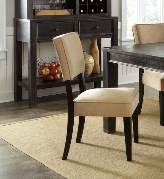 2 Gavelston Urbanology Beige Wood Fabric Dining Upholstery Side Chairs D532-01