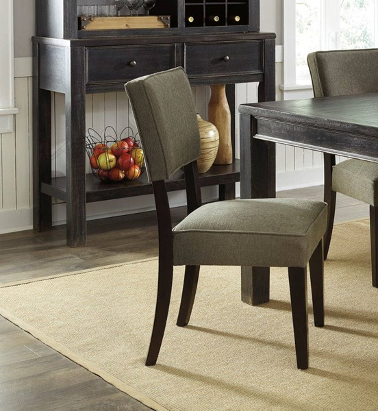 2 Gavelston Urbanology Green Wood Fabric Dining Upholstery Side Chairs D532-02