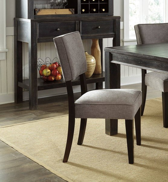 2 Gavelston Urbanology Gray Wood Fabric Dining Upholstery Side Chairs D532-03