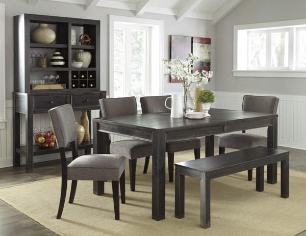 Gavelston Urbanology Black Gray Wood 6pc Dining Room Set D532-DR-S11