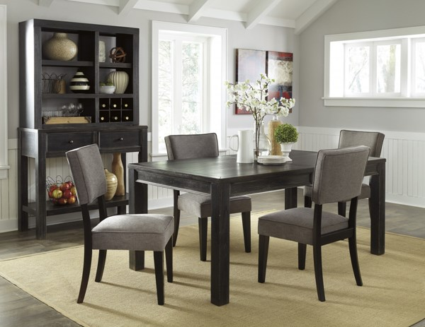 Gavelston Urbanology Black Gray Wood 5pc Dining Room Set D532-DR-S3