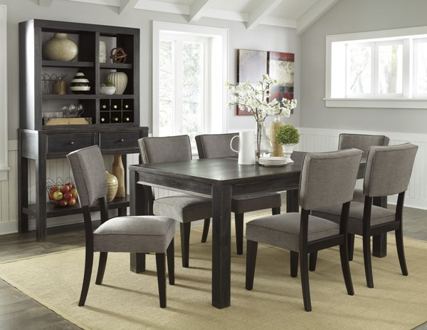Gavelston Urbanology Black Gray Wood 7pc Dining Room Set