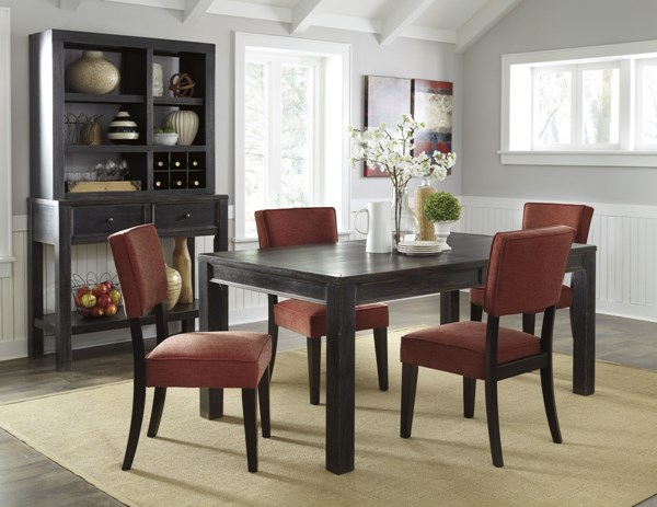 Gavelston Urbanology Black Brick Wood 5pc Dining Room Set D532-DR-S4
