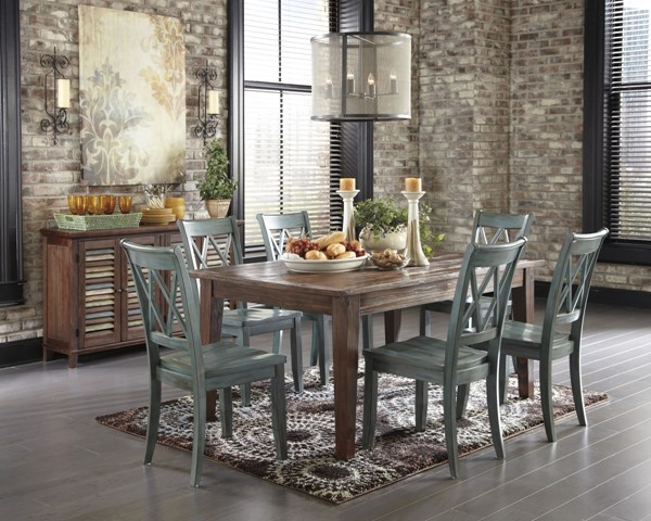 Mestler Casual Blue Wood 8pc Dining Room Set D540-DR-S8
