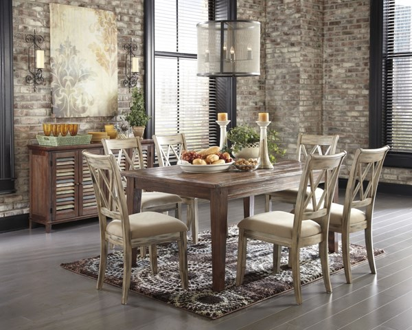 Mestler Casual Brown Wood 8pc Dining Room Set D540-DR-S5