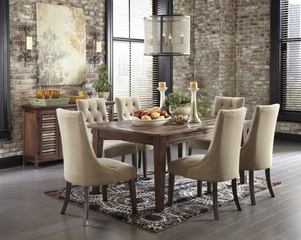 Mestler Casual Brown Wood Fabric 8pc Dining Room Set D540-DR-S7