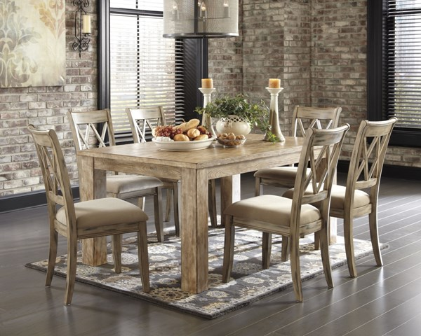 Mestler Casual Bisque Medium Brown Wood Fabric 7pc Dining Room Set D540-DR-S12