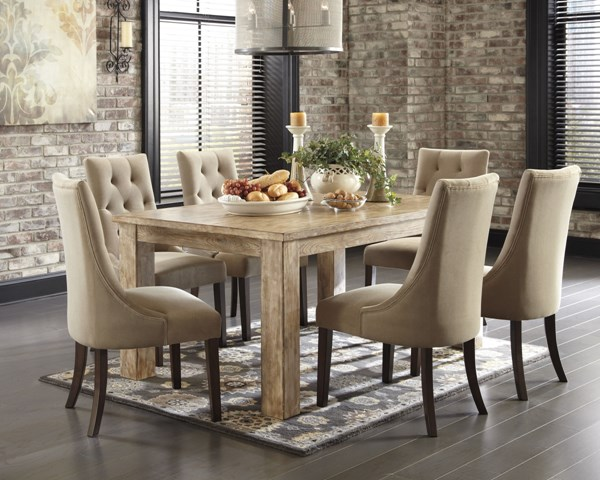 Mestler Bisque Medium Brown Wood Fabric Tufted 7pc Dining Room Set D540-DR-S11