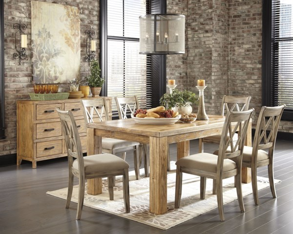 Mestler Casual Medium Brown Wood Fabric Dining Room Set D540-DR-S