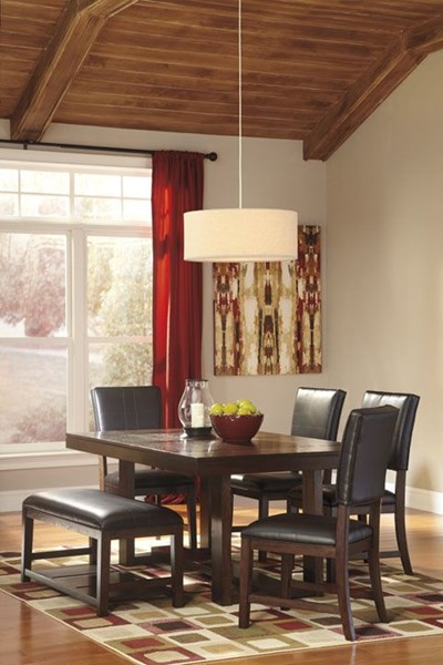Watson Contemporary Dark Brown Wood PU Dining Room Sets D541-00-DR-V