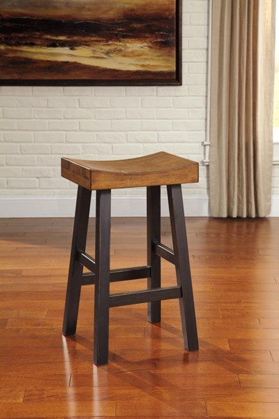 2 Glosco Vintage Casual Brown Wood Tall Stools D548-030