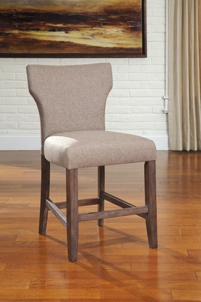 Glosco Vintage Casual Brown Fabric Wood UPH Bar Stool D548-124-130-VAR