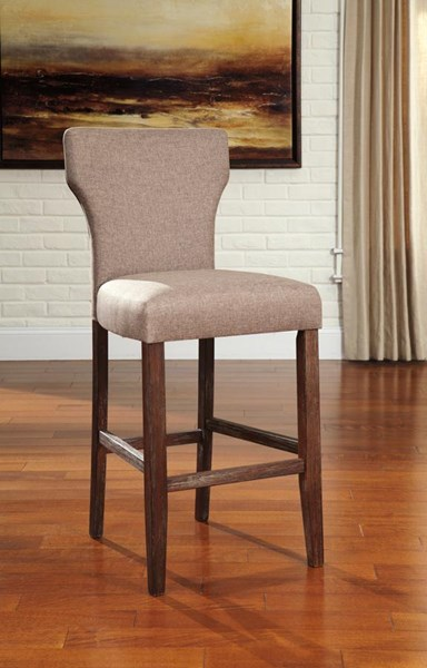 2 Glosco Vintage Casual Brown Fabric Wood Tall Upholstered Barstools D548-130