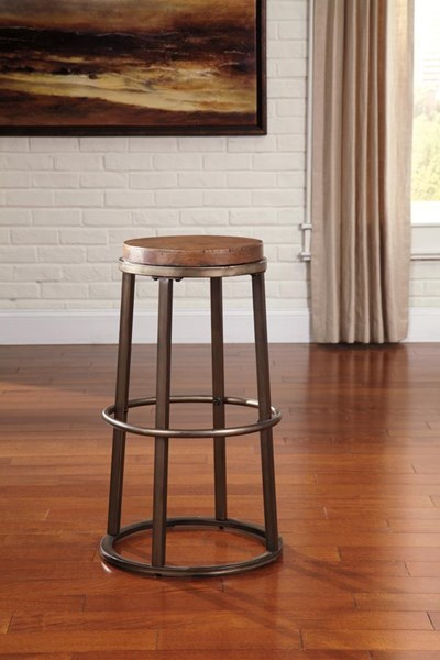 2 Glosco Vintage Casual Brown Wood Tall Armless & Backless Stools D548-330