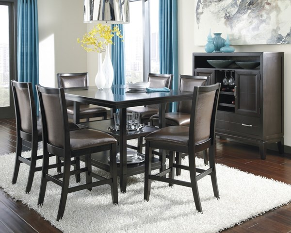 Trishelle Casual Brown Wood 7pc Dining Room Set D550-32-DR-S2