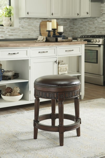2 North Shore Dark Brown Faux Leather Wood Upholstered Swivel Stools D553-024