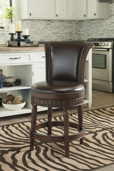 North Shore Dark Brown Faux Leather Solid Wood UPH Swivel Barstool D553-224