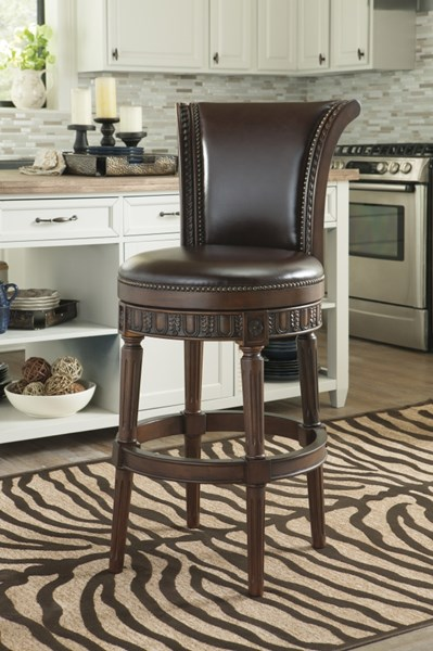 North Shore Dark Brown Faux Leather Wood Upholstered Swivel Barstool D553-230