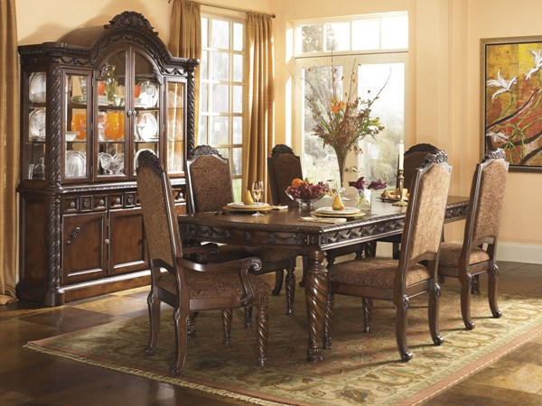 North Shore Traditional Dark Brown Wood Glass 8pc Dining Room Set D553-Set4