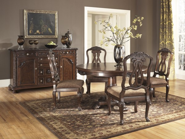 North Shore Traditional Dark Brown Wood 6pc Dining Room Set D553-Set1