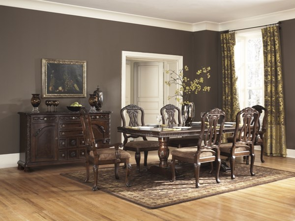 North Shore Traditional Dark Brown Wood 8pc Dining Room Set D553-Set3