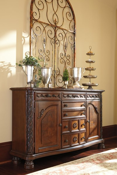 North Shore Traditional Dark Brown Wood Dining Room Server D553-60