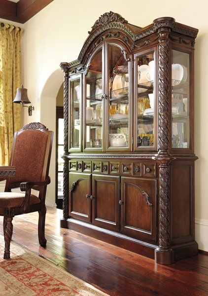 North Shore Traditional Dark Brown Wood Glass Dining Room Buffet D553-80