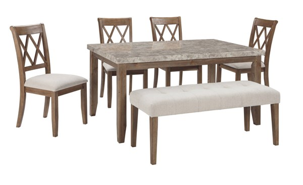 Narvilla LIght Brown Fabric Solid Wood Marble 6pc Dining Room Set D559-DR-S2