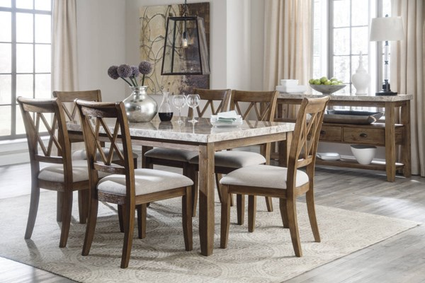 Narvilla Contemporary Light Brown Fabric Wood Marble Dining Room Set D559-DR