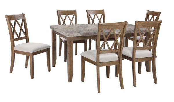 Narvilla Light Brown Fabric Solid Wood Marble 7pc Dining Room Set D559-DR-S1