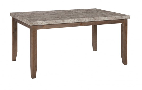 Narvilla Light Brown Solid Wood Marble Rectangular Dining Room Table D559-25