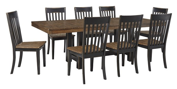 Emerfield Two Tone Brown 9pc Dining Room Set D563-DR-S2