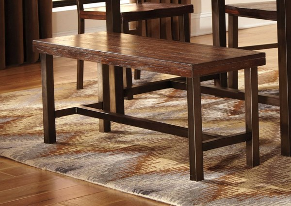 Riggerton Contemporary Burnished Brown Wood Large Dining Room Bench D572-00