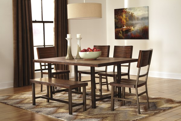 Riggerton Contemporary Burnished Brown Wood Dining Room Set D572-00-DR