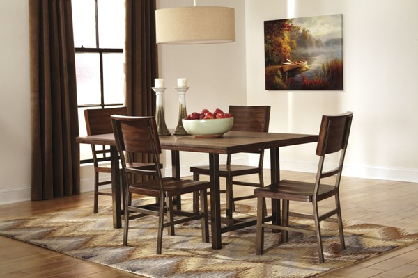 Riggerton Contemporary Burnished Brown Wood 5pc Dining Room Set D572-00-DR-S1