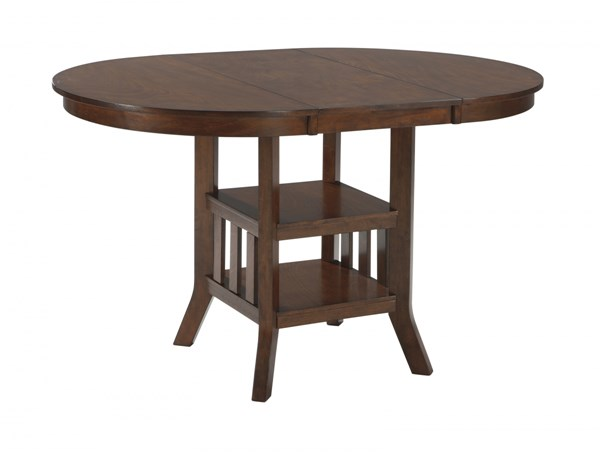 Renaburg Medium Brown Wood Oval Counter Extendable Table D574-42