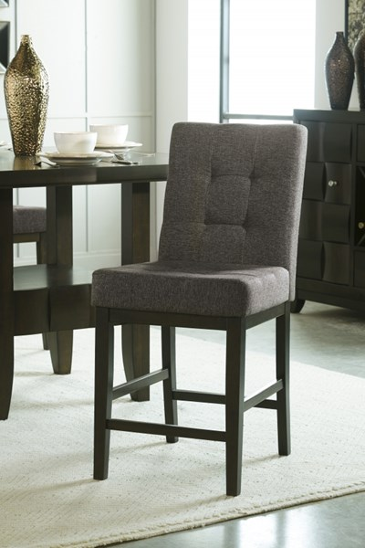 2 Chanella Contemporary Dark Brown Fabric Wood Upholstered Barstools D582-124