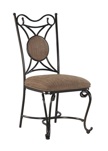 4 Brulind Brown Fabric Metal Dining Upholstered Side Chairs D584-01