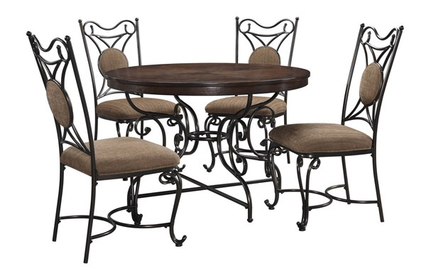 Brulind Traditional Brown Fabric Metal Wood 5pc Dining Room Set D584-DR-S1