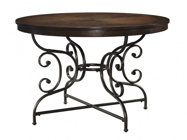 Brulind Traditional Brown Wood Metal Round Dining Room Table D584-15