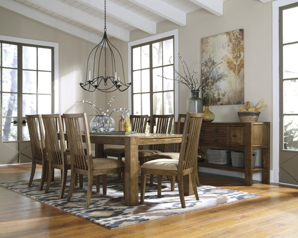 Birnalla Light Brown Wood 9Pc Dining Room Sets D585-01-DR-S2