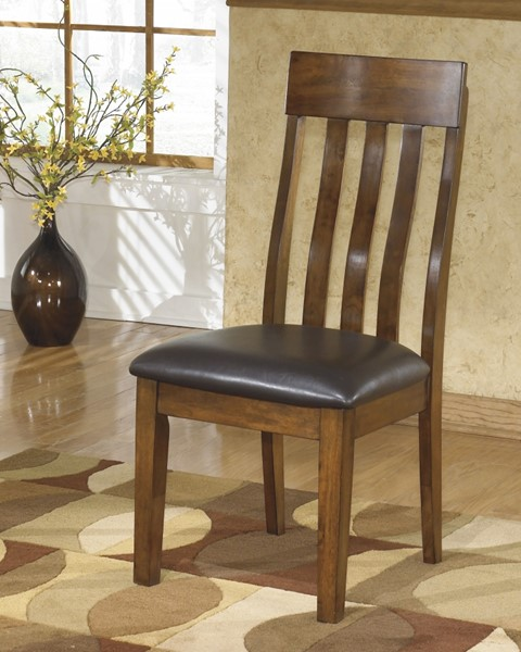 2 Ralene Casual Brown Faux Leather Wood Dining Upholstered Side Chairs D594-01
