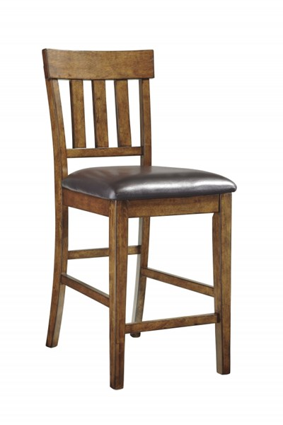 2 Ralene Medium Brown Faux Leather Wood Upholstered Barstools D594-124