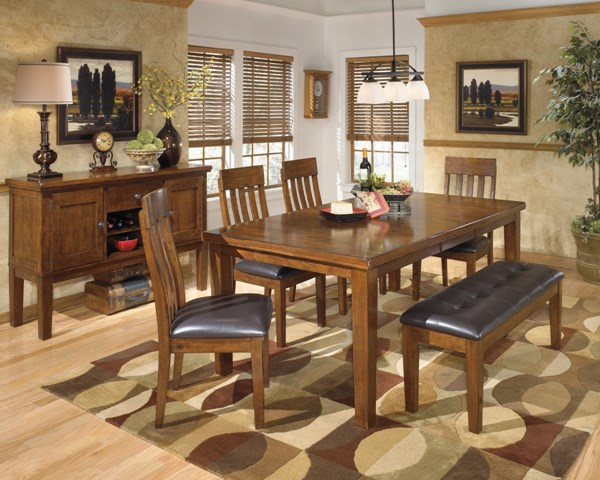 Ralene Casual Medium Brown Wood Faux Leather 6pc Dining Room Set D594-DR-S3