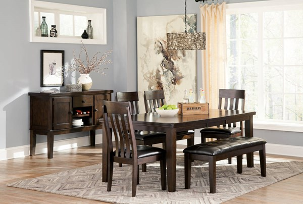 Haddigan Vintage Casual Brown PU Wood 6pc Dining Room Set D596-DR-S1