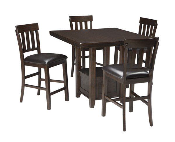 Haddigan Casual Dark Brown Solid Wood 5pc Counter Height / Bar Set D596-DR-S3